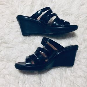 Clarks Artisan Patent Leather Wedge Sandals